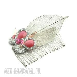Srebrny grzebień ślubny z liściem, grzebień słubny dla panny młodej w stylu boho - hand-made