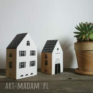 dekoracje dwa domki komplet 2szt czarno białe z drewna, domy, domek
