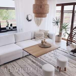 pufa biała gładka - 36 cm, puf, taboret, hocker, vintage, puff, stołek
