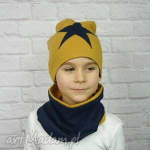 bukiet-pasji cienka czapka i komin dla chłopca - chłopiec, bawełna