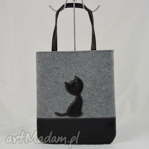 7f93bd7cf228d na ramię duża szara torebka z filcu- czarnym kotkiem - a4