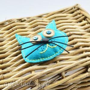 fidelek - kot przypinka, broszka, kot, niebieski, oryginalny, miękki