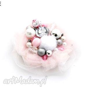 broszka pink - broszka, tiul, róż, różowa