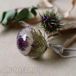 Naszyjnik z ostem no.2, natura, żywica, autorska, roślinna, elegancka, romantyczna