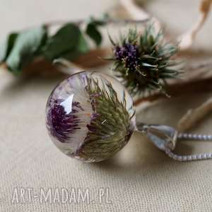 Naszyjnik z ostem.2, natura, żywica, autorska, roślinna, elegancka,