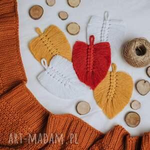 girlanda liście - musztardowa, liść, makrama, girlanda, sznurek, na prezent
