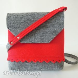 filcowa torebka z falbanką- 2 kolory- szara czerwonym, torebeczka, filc, falbanka