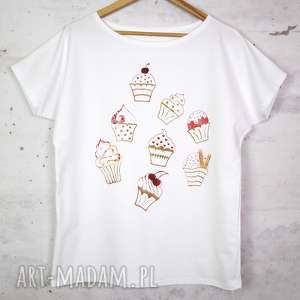 muffinki koszulka bawełniana biała l/xl z nadrukiem, bluzka, koszulka, biała, bawełna