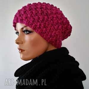 handmade czapka różowa, zimowa czapka, wełniana