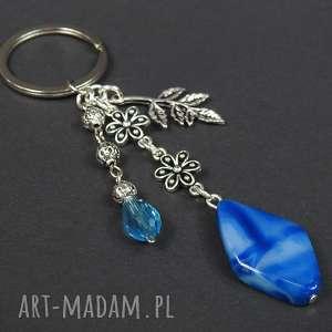 0128 mela brelok do kluczy kamień agat kwiaty liść - brelok, do kluczy