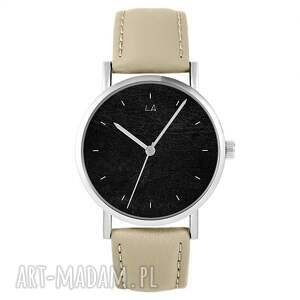 zegarek - czarny skórzany, beżowy, zegarek, pasek, męski, damski