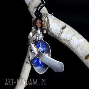 Lapis Lazuli kamień naturalny łyżeczka wisiorek, łańcuszek, zawieszka
