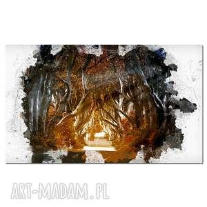 obraz drzewo 46 - 120x70cm leśna ścieżka droga na płótnie canvas, obraz