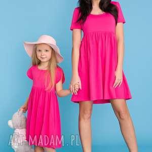 komplet dla mamy i córki, sukienka letnia odcinana pod biustem, różowa