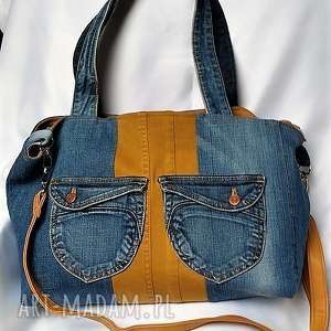 Duża Torebka z Jeansu dopinaną Kosmetyczką, torba, torebka, kosmetyczka, dżins