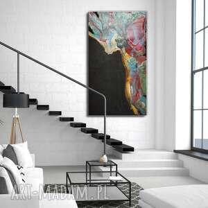 obraz ręcznie malowany - tęczowa lawa 140x80 cm, z żywicy