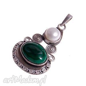 Wisiorek z perłą i malachitem B918 , wisiorek, perła, malachit, oryginalny, srebrny