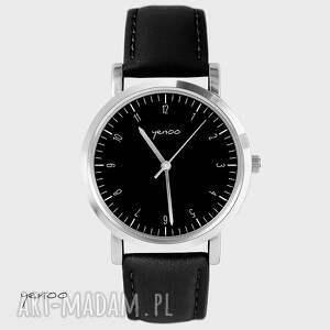 ręcznie robione zegarki zegarek, bransoletka - simple elegance - czarny, skórzany