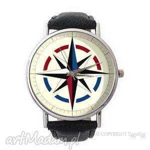 kompas - skórzany zegarek z dużą traczą - niebieskie zegarki