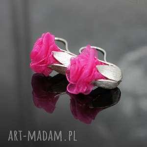 Kolczyki English roses - różowe, kolczyki, róża, srebro, srebrne, wiszące, kwiatowe