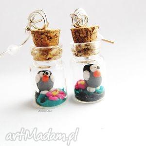 kolczyki miniaturowy świat krecika, kolczyki, modelina, buteleczka, krecik, fimo