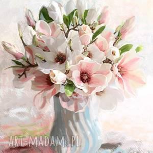 obraz na płótnie magnolie w wazonie 60 x 70 cm, kwiaty obrazy, bukiety obrazy
