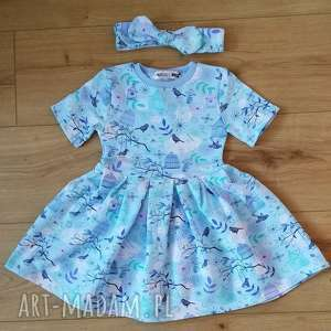 Sukienka dziecięca ptaszki w klatce , bawełna, dzianina, eco, ptaszki, nadruk,