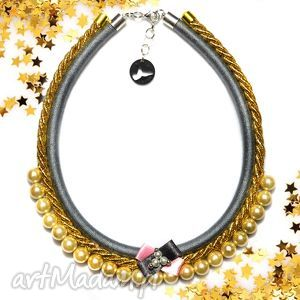 Kolia naszyjnik Tiffi grey, kolia, naszyjnik, elegancki, wieczorowy, perły, perełki