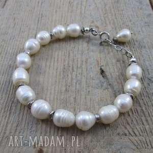 naturalne perły - bransoletka, srebro, perła