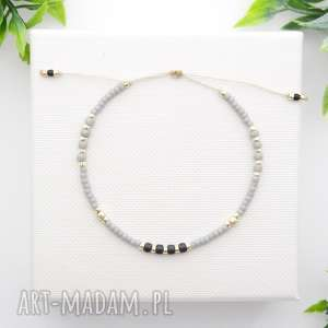 bransoletka koralikowa minimal - grey, bransoletki, koralikowe, modna biżuteria
