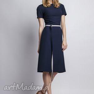 sukienka z krótkim rękawem, suk128 granat, romantyczna, prosta, subtelna