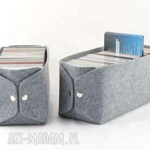 Pudełko do przechowywania płyt CD - Minimalistyczne z szarego filcu, płyty-cd