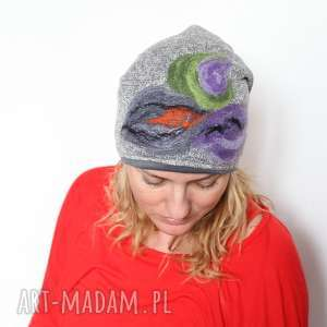 czapka handmade czesanką filcowane czapki - czapka, welna, cieple, folk, mama