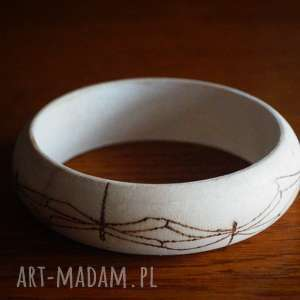 ważkowa bransoleta - ręcznie wypalana drewniana bransoletka - pirografia