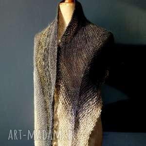 the wool art ciepła elegancka chusta, szal, wełniana, nadrutach