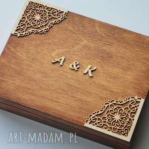 Pudełko na obrączki z narożnikami, drewno, koronka, obrączki, eko, rustykalne