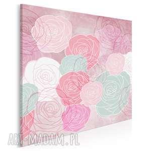 obraz na płótnie - kwiaty róże różowy miętowy w kwadracie 80x80 cm 49702