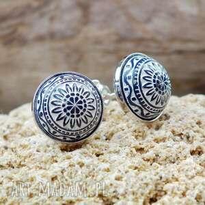 srebrne kolczyki wkrętki z mozaiką, kolczyki, sztyfty, wkrętki, małe, drobne
