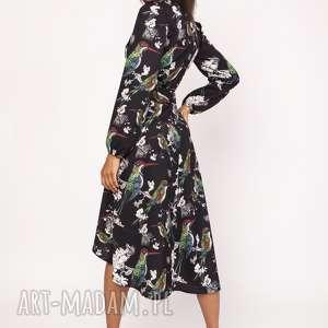 asymetryczna, kopertowa sukienka, suk161 ptaki, wiązana, asymetryczna