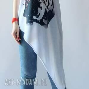 asymetryczna letnia tunika damska, elegancka, drukowany, na prezent