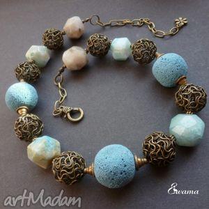 blue moon i - naszyjnik, efektowny, agaty, lawa