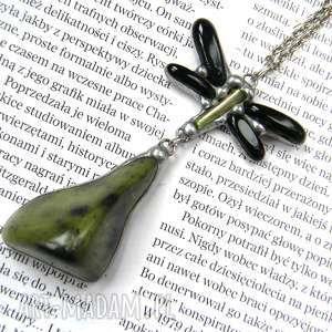 Secesyjny wisior z łańcuszkiem: motyl jaspisem, motyl, wisiorek, jaspis, onyks