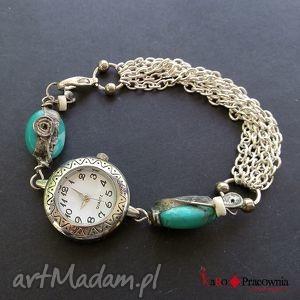zegarek etniczny z turkusami, indiański, etniczny, folk, dawanda, turkus