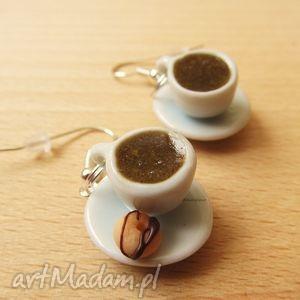 kolczyki - kawa z donutem, kolczyki, kawa, filiżanki, modelina, fimo, donut