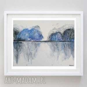 pejzaż z niebieskimi drzewami format 18/24 cm, drzewa, pejzaż, nowoczesny