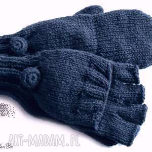 Bezpalczatki z klapką #6, rękawiczki, mitenki, klapka, dziergane,