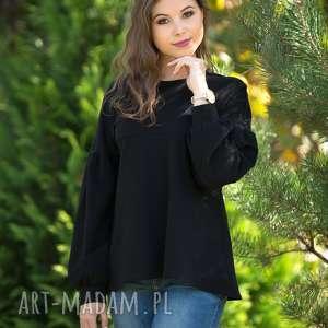 LALA bluzka trapezowa z bufiastym rękawem, czarna., bluzka, bufiasty-rękaw