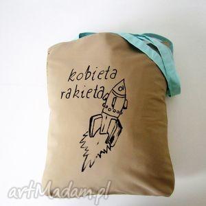 bawełniana torba z ręcznie wykonaną aplikacją, eko