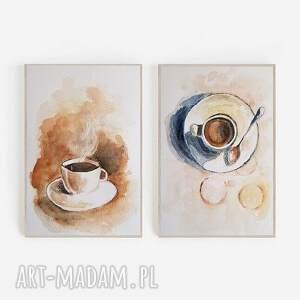 kawa-dwie akwarele formatu a5 każda, kawa, papier, akwarela