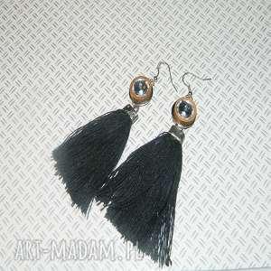 czarne lniane chwosty, lniane, lniane-kolczyki, unikatowa-biżuteria
